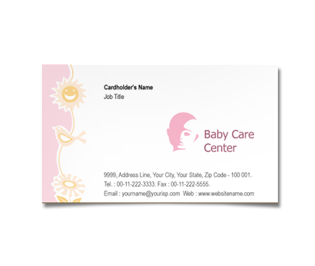 Complete Business Card  View with Layout For Babies Care Centre
