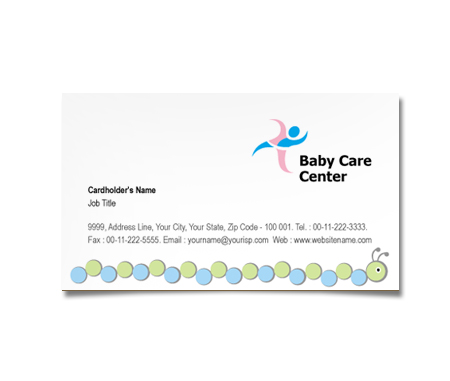 Complete Business Card  View with Layout For Babies Care