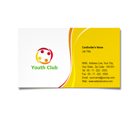 Complete Business Card  View with Layout For Youth Club