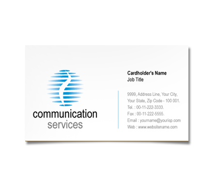 Complete Business Card  View with Layout For Communication Services