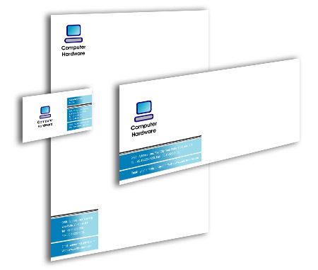 Complete Corporate Identity  View with Layout For Computer Hardware Solution