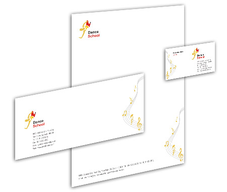 Complete Corporate Identity  View with Layout For Dance School