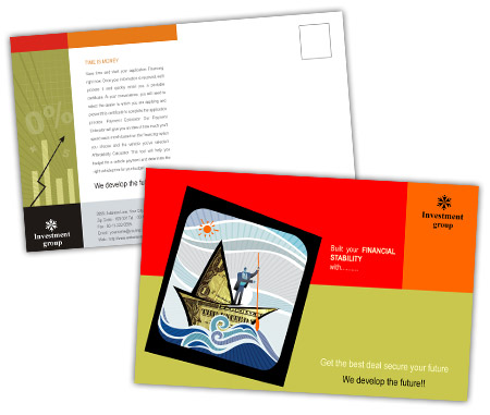 Complete PostCard s View with Layout For Investment Company