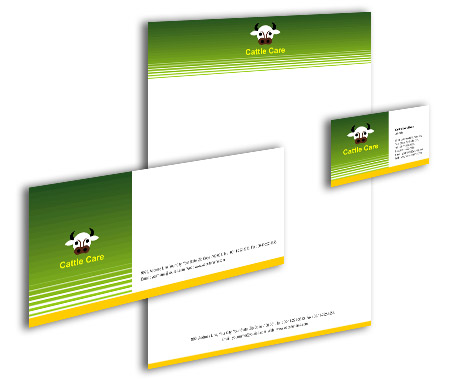 Complete Corporate Identity  View with Layout For Cattle Farming