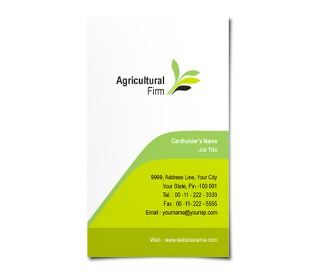 Complete Business Card  View with Layout For Agricultural Firm