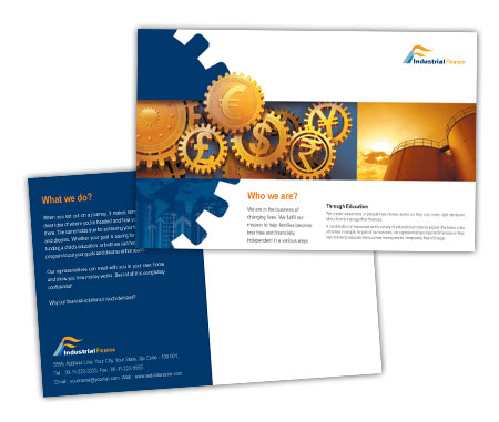 Complete PostCard s View with Layout For Industrial Finance