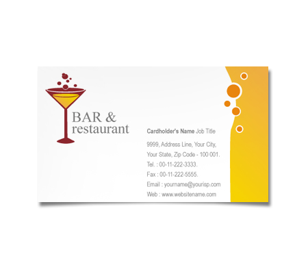 Complete Business Card  View with Layout For Restaurant In Bar