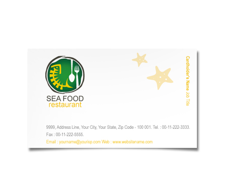 Complete Business Card  View with Layout For Seafood Dining