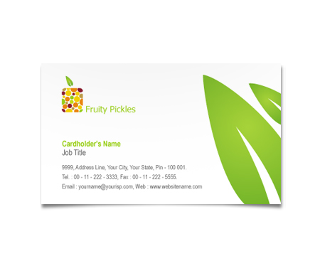 Complete Business Card  View with Layout For Fruit Pickles