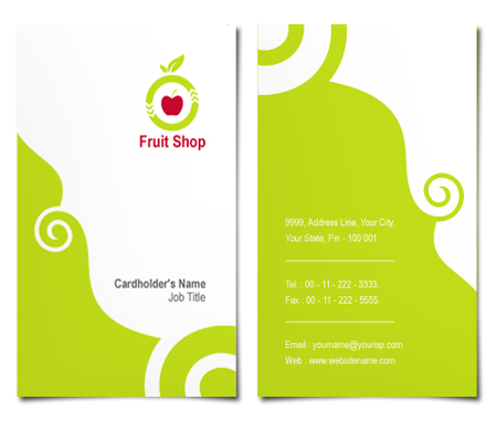 Complete Business Card  View with Layout For Fruit Shop