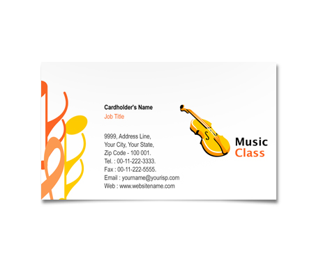 Complete Business Card  View with Layout For Music Classes