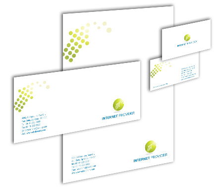 Complete Corporate Identity  View with Layout For Internet Services Provider