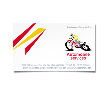 Complete Business Card  View with Layout For Automobile Part