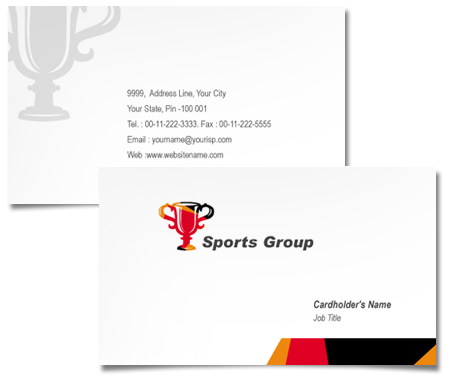 Complete Business Card  View with Layout For Sports Group
