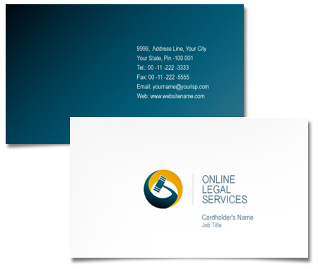 Complete Business Card  View with Layout For Online Legal Services
