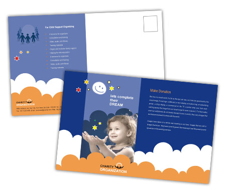 Complete PostCard s View with Layout For Children Welfare Service