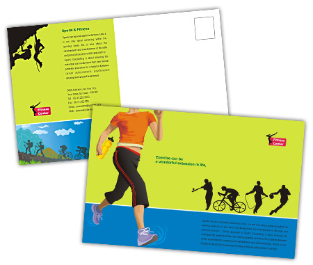 Complete PostCard s View with Layout For Fitness Center