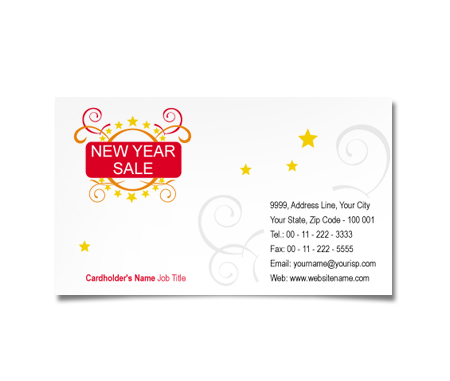 Complete Business Card  View with Layout For New Year Sale