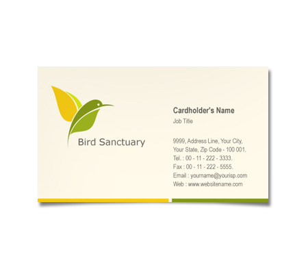 Complete Business Card  View with Layout For Bird Sanctuary