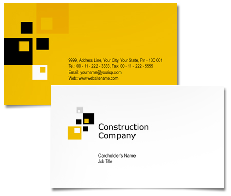 Complete Business Card  View with Layout For House Construction Company