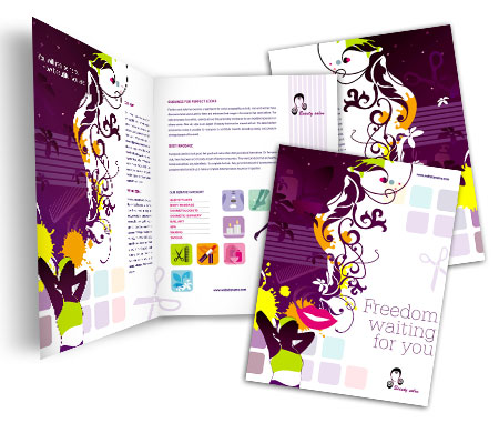 Complete Brochure  View with Layout For Hair And Beauty Salon