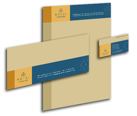 Complete Corporate Identity View with Layout For Heritage Hotel