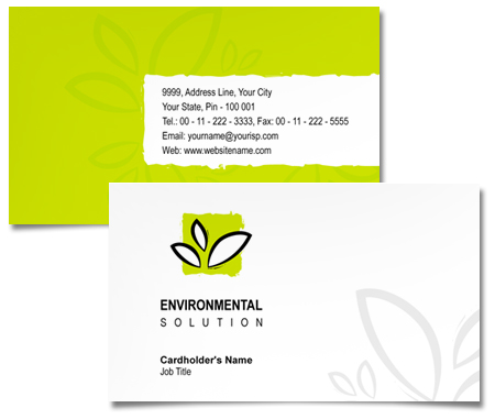 Complete Business Card  View with Layout For Environmental Solutions