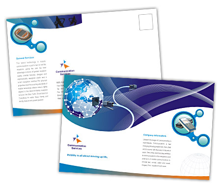 Complete PostCard s View with Layout For Global Communication Services