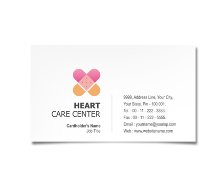 Complete Business Card  View with Layout For Heart Care Centre