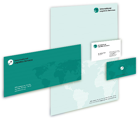 Complete Corporate Identity  View with Layout For Worldwide Logistics