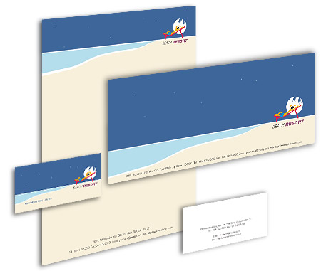 Complete Corporate Identity  View with Layout For Beach Club Resort