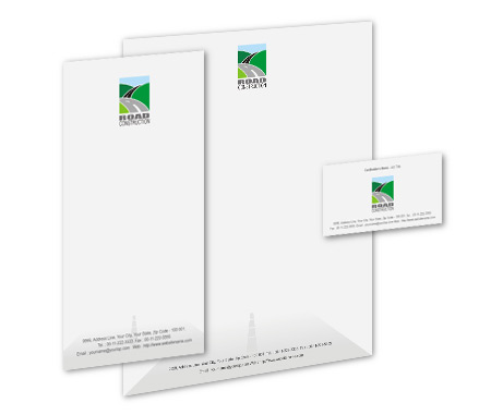 Complete Corporate Identity  View with Layout For Road Construction