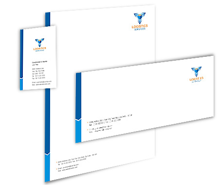 Complete Corporate Identity  View with Layout For Logistics
