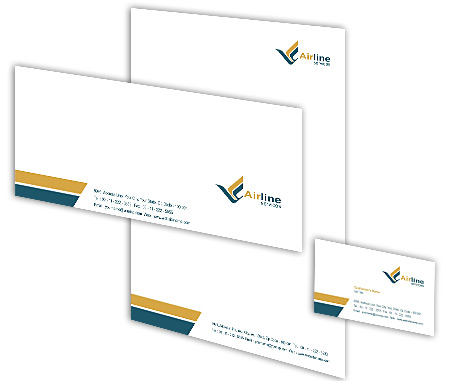 Complete Corporate Identity  View with Layout For Air Lines Travel