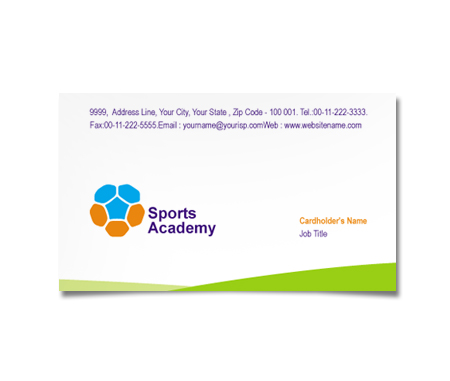 Complete Business Card  View with Layout For Sports Academy