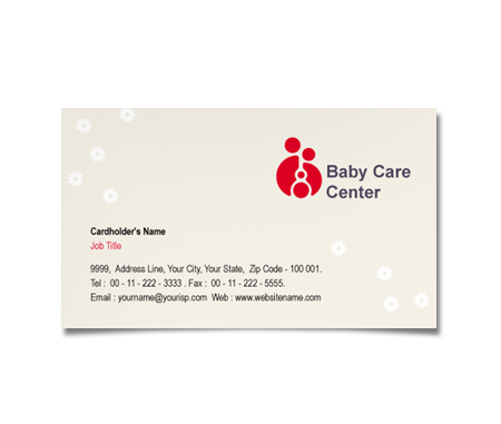 Complete Business Card  View with Layout For Baby Care Center