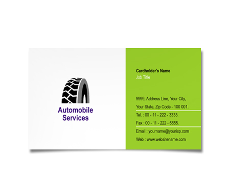 Complete Business Card  View with Layout For Wheel Alignment
