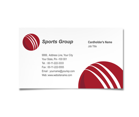 Complete Business Card  View with Layout For Cricket Academy Centre