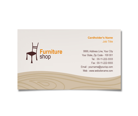 Complete Business Card  View with Layout For Furniture Bazaar