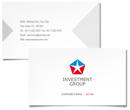 Complete Business Card  View with Layout For Investment Banks