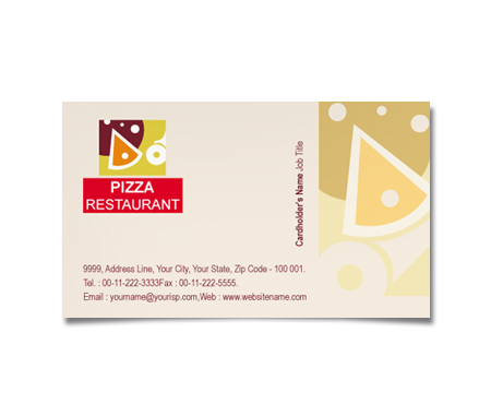 Complete Business Card  View with Layout For Pizza Restaurant