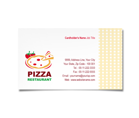 Complete Business Card  View with Layout For Pizza and Food