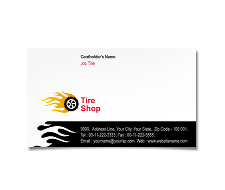 Complete Business Card  View with Layout For Tire Treads