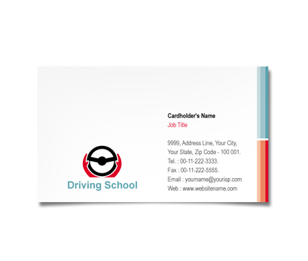 Complete Business Card  View with Layout For Advanced Driving School