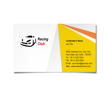 Complete Business Card  View with Layout For Racing Club